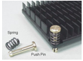 push pin attach for heat sinks