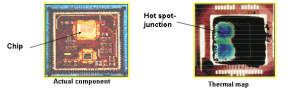 this photo shows the semiconductor junction temperature hot spot